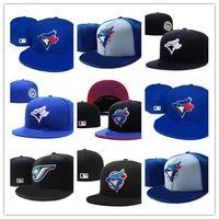 mavi kapaklar beyzbol toptan satış-Yeni Sıcak Toronto Sahada Beyzbol Monte Şapkalar Spor Takımı Logosu Nakış mavi jays Tam Kapalı Kapaklar