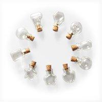 pequeñas formas de vidrio al por mayor-Mini botellas de cristal lindas colgantes pequeñas botellas de bricolaje con corcho Diy Tarros Regalos Vial Mixta 10 Shap