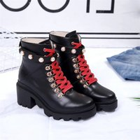 Wholesale black n white shoe boots resale online - WOMEN MARTIN BOOTS LUXURY LEATHER SPIKES RIVET BOOT LACE UP ANKLE BOTTES BOOTIES AU DESSUS BOTTINES SAFETY SHOES