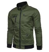 chaquetas de moda al por mayor-Primavera y otoño Chaqueta de algodón de moda para hombres Cuello de soporte Air Force No. 1 Slim Trendy Flight Jacket Ropa de hombre