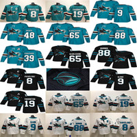 san jose sharks hockey großhandel-San Jose Sharks # 8 Joe Pavelski 19 Thornton 88 Brent Burns 9 Evander Kane Grün Weiß # 65 Erik Karlsson Couture 2018 Hockey Trikots