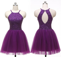 vestido morado oscuro espalda abierta al por mayor-Dark Purple Halter Homecoming Vestidos Barato 2019 con cuentas de lentejuelas cristal espalda abierta Tul Drapeado corto vestido de fiesta Vestido de graduación Vestidos de fiesta