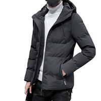 красное мягкое пальто оптовых-Mens Winter Windproof Puffer Hooded Jacket Plus Size Men Cotton Padded Warm Parkas Slim Snow Wear Coat for Men Red Blue Black