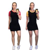 vestidos cortos deportivos al por mayor-Venta caliente diseñador de la marca de la marca vestidos casuales de gimnasia manga corta por encima de la rodilla vestidos de estiramiento ropa deportiva de verano más el tamaño 355