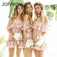 mini vestido de praia rosa venda por atacado-JaMerry Sexy plissado fora do ombro das mulheres mini vestido de cinta de espaguete vestidos de verão Holiday beach feminino rosa curto vestido de verão 2019