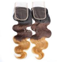parte de cabello ombre cierre al por mayor-Nuevo cierre de encaje brasileño de onda corporal 4x4 color de parte media libre 1B 4 27/30 Ombre Cabello humano Cierre superior de onda corporal brasileña
