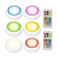 феи ночные огни оптовых-Светодиодный шкаф RGB Night Lights 13 Цветов Fairy Light Беспроводная подсветка шкафа Питание от батареи с пультом дистанционного управления
