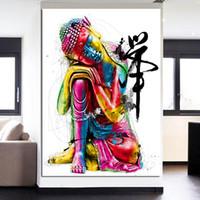 buda'nın yağlı boya toptan satış-1 Parça HD Baskılar Resimlerinde Zen Tarzı Uyku Buda Tuval Sanat Boyama Baskılar Buda Yağlıboya Oturma Odası Için Unframe Yok Çerçeveli