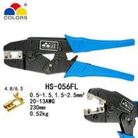 tipos de conectores terminales al por mayor-COLORES HS-056FL de tipo bandera receptáculos 4.8,6.3 terminales aislados 0.5-2.5mm2 20-13AWG crimpadora conectores herramientas de marca