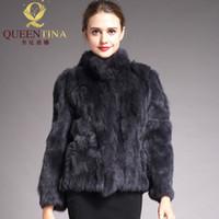 Wholesale winter long coats white elegant for sale - Group buy 2019 High Quality Real Coat Fashion Genuine Overcoats Elegant Women Winter Outwear Stand Collar Rabbit Fur JacketMX190821