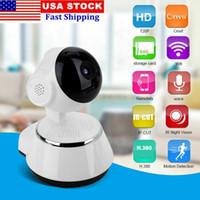 wifi ağ güvenlik kamerası toptan satış-Ücretsiz 8G kart V380 WiFi IP Kamera akıllı Ev kablosuz Gözetim Kamera Güvenlik Kamera IOS PC Için Mikro SD Ağ Dönebilen CCTV