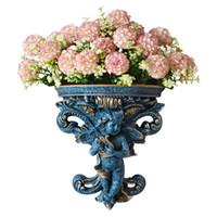 ingrosso vaso montato-Europeo Creativo Angelo Parete Vaso di fiori Vaso a parete Decorazione della parete del salone Resina appesa Artigianato all'ingrosso