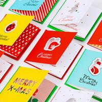 tarjeta de cumpleaños de navidad al por mayor-Hollow Tri-Folding Type Tarjetas de felicitación Cute Birthday Creative Merry Christmas Card Message Card Holiday Xmas Postcard Gift Card 96pcs