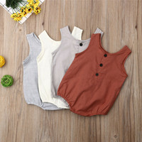 Wholesale infant linens resale online - Newborn Baby Sleeveless Rompers Summer Baby Girls Linen Cotton Jumpsuit Cute Infant Button Playsuit Boys Casual Clothes