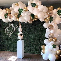 white gold garland 도매-98pcs 풍선 화환 아치 키트 화이트 골드 색종이 풍선 인공 팜 잎 생일 파티 웨딩 장식