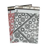umschlag tasche blumen großhandel-25.5 * 33cm 10 * 13-Zoll-Rot / Schwarz-Blumen-Entwurf Poly Mailers Selbstdichtungs-Plastik Mailing-Umschlag-Beutel