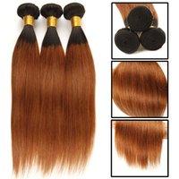 kaufen menschliches haar weben großhandel-Ombre peruanisches glattes Haar 1B / Rot / Grün / Blau / Braun Farbe Menschliches Haar Bundles 3 STÜCKE Kann 3 Bundles Ombre Menschliches Haar spinnt