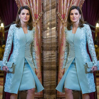 Wholesale elegant lace suit for sale - Group buy 2019 Elegant Outdoor Mother Of Bride Dresses Suits Short Two Piece Blue Long Sleeve Groom Mother Dress For Wedding Lace Arabic Evening Dress