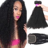 Wholesale ombre brazilian hair kinky curly resale online - 9A Brazilian Virgin Hair Bundles With Lace Closure Water Wave Deep Wave Loose Deep Kinky Curly Unprocessed Human Hair Bundles with Closure