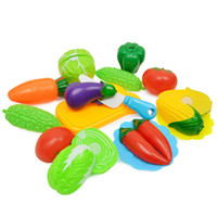 Wholesale wood toy vegetables resale online - New Pattern Girl House Toys Vegetables Earnestly Happy Simulation Kitchen Cut Fruits Children is Toys