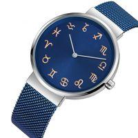 Wholesale constellations watch for sale - 2019 luxury mens women alloy steel mesh belts watch men ladies students casual constellation design quartz wristwatch