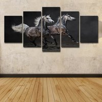 Wholesale free horses painting resale online - 5 Piece HD Printed Galloping Horses Painting Canvas Print Room Decor Print Poster Picture Canvas