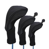 golf head cover groihandel-3 Stücke Schwarz Golf Head Covers Fahrer 1 3 5 Fairway Holz Headcovers Long Neck Knit Schutzhülle Fairway Driver Club Zubehör