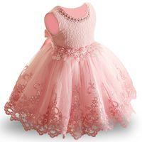 vestido infantil venda por atacado-Bebé de flor Criança infantil Princess Dress Baby Girl vestido de noiva lace tutu Crianças Partido Vestidos de 1ª Y18102007 aniversário