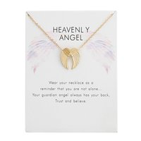 Wholesale angel wings pendants resale online - Angel Wings Pendant Necklaces With Card Gold Silver Colors Alloy Pendant Women Necklaces Fashion Jewelry Gifts