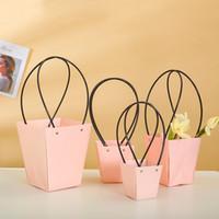 Wholesale blue striped paper straws resale online - 5pcs straw flower bag Paper Wreaths Flower Box Packaging Decorative Handbag Pink L620
