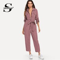 ingrosso camicia di colore rosa-Sheinside Pink Casual Button Detail Shirt Tuta Donna 2019 Roll Up Sleeve Tapered Tute Mid Waist con cintura Tooling Tuta