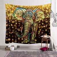 couvre-lit en tapisserie achat en gros de-Tapisserie indien ethnique Thaïlande éléphant Tenture murale Boho décor animal tapisseries d'impression couvre-lit en tissu moderne tenture tapis