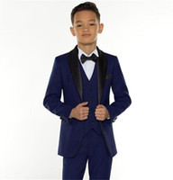 Wholesale model clothes for kids resale online - Custom Made Boy Tuxedos Shawl Lapel One Button Children Clothing For Wedding Party Kids Suit Boy Set Jacket Pants Vest SU0067