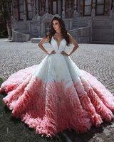 vestidos de quinceanera rosa branco venda por atacado-2020 Sexy V Neck Branco e Rosa Completo Tule Puffy vestido de Baile Princesa Quinceanera Vestidos Até O Chão Vestido De Festa Doce 16 Vestido