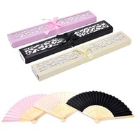 Wholesale hand fan silk bamboo for sale - Group buy 1PC White Pink Chinese Bamboo Silk Hand Fan Wedding Favors Guests Gifts Gift Box With Ribbon And Tag Decoration