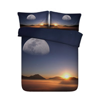 ingrosso set di biancheria da letto di lago-Mountain Trees Lake 3pc Set copripiumino con 2 fodere per cuscini Forest Snow Bedding Winter Landscape Sunset Blue Galaxy Copripiumino Universe Bird