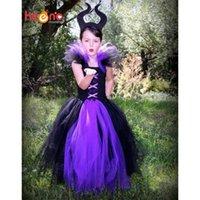 cadılar bayramı kostüm fotoğrafları toptan satış-Maleficent Evil Kraliçe Kız Tutu Boynuzları Ile Elbise Cadılar Bayramı Fotoğraf Prop Purim Çocuklar Bebek Fantezi Kostüm El Yapımı Elbise Ts127 Y190518