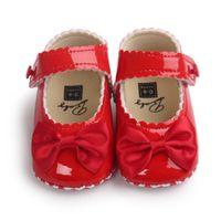 Wholesale handmade shoes children resale online - Handmade cute girl baby shoes children bow shoes princess PU leather ballet soft anti skid footwear spring autumn