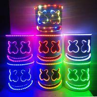 Wholesale colored masks for sale - Group buy LED Light Marshmello Mask Cosplay DJ Music Masks Disco Bar Party Props Halloween Cosplay LED Luminous Full Head Helmet