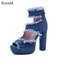 mezclilla peep toe al por mayor-Kcenid 2019 Verano nueva moda recorte azul botas de mezclilla 12 cm tacones altos plataforma peep toe mujeres botines zapatos de gran tamaño 33-43