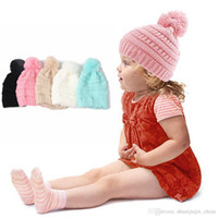 Wholesale white crochet cap for sale - Group buy Kids Hats Pom Poms Beanie Trendy Knitted Chunky Skull Caps Winter Cable Knit Slouchy Crochet Outdoor Hats Colors LJO3825