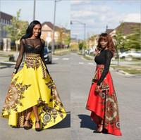 falda del paraguas de la moda al por mayor-Falda de impresión de moda africana Umbrella irregular falda grande de swing