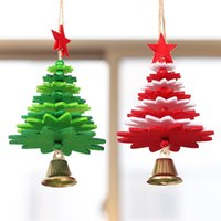 Wholesale bell ornament craft resale online - Merry Christmas Tree Shape Wall hanging Xmas Bell Tree Ornaments decorations for New Year Home Car Chimes Hanging Crafts Navidad
