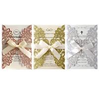 convite de marfim venda por atacado-10 pçs / set Laser Cut Lace Glitter Cartões de Convite de Casamento Com Fita Para Festa de Formatura de Aniversário de Noivado de Chá de Panela