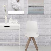 tuğla duvar kağıtları toptan satış-Çıkartmalar DIY Kendinden Yapışkanlı 3D Duvar Çıkartmaları Yatak Odası Dekor PE Köpük Tuğla Odası Dekor Duvar Kağıdı Duvar Sticker Çocuk Odası Için