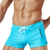 boxers para hombre bolsillos al por mayor-Diseñador de moda Boxeadores atractivos para hombre con bolsillo hasta 2XL Ropa de baño para hombre Ropa interior de hombre sólido