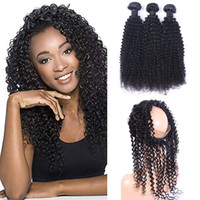 Wholesale curly hair frontal resale online - 9A Pre Plucked Brazilian Kinky Curly Human Hair Weaves With Lace Band Frontal Virgin Human Hair With Bady Hair