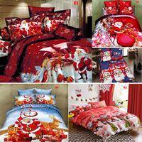 Wholesale christmas sheet sets queen online - Hot set Cotton Bedding Set Christmas New Year Bed Linen Pillow Case Sheet Cover Set Bed Sheet Duvet Cover Bed