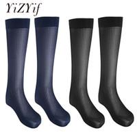 ingrosso calzini coscia uomini-YiZYiF 2 paia calze da uomo sexy calze lunghe calza a righe sottile calza traspirante over-the-calf crew calze di seta da uomo