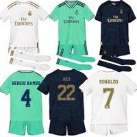 equipamento jersey venda por atacado-19 de 20 crianças + meias verdadeira Madrid camisas de futebol PERIGO Kroos Jovic Militão camiseta 2019 2020 VINICIUS ASENSIO camisa de futebol crianças equipamentos